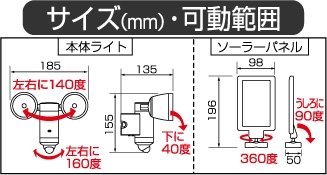 LED ソーラーライト S-20L_size